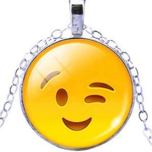 Necklace- NEW- Emoji Happy Face Wink